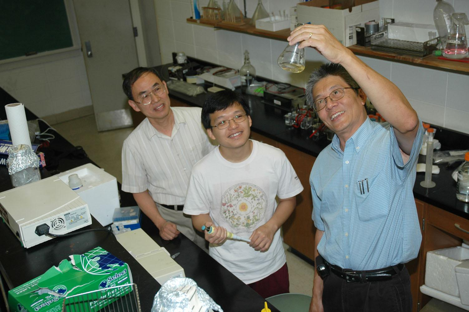 Preparing Mississippi State University's entry for this fall's International Genetically Engineered Machine competition are, from left, Dr. Din-Pow Ma, professor of biochemistry and molecular biology, Victor Ho, biochemistry doctoral student, and Dr. Filip To, professor of agricultural and biological engineering.