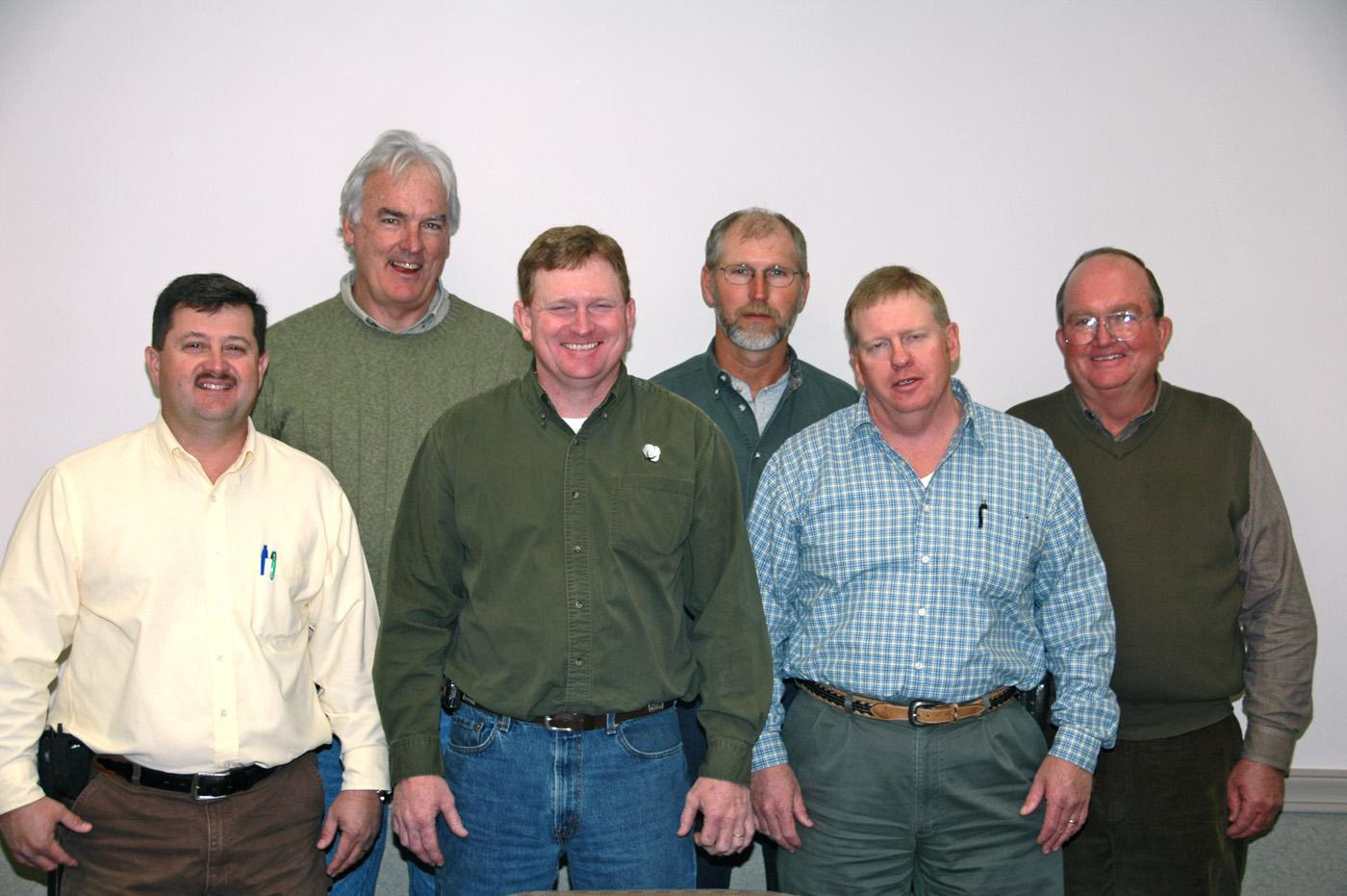 Mississippi Peanut Growers Association officers were elected at the organization's annual meeting. Elected for 2008 were, left to right, front row, Mike Steede, secretary, George County; Lonnie Fortner, vice president, Claiborne County; Clayton Lawrence, president, George County; back row, Joc Carpenter, Claiborne County; Van Hensarling, treasurer, Perry County; and Joe Morgan, Forrest County.