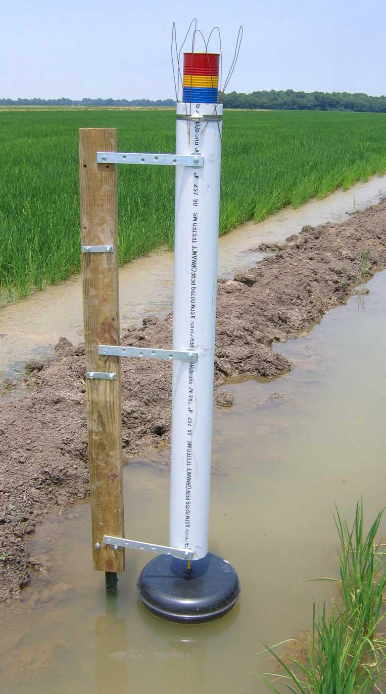 """A newly designed flood gauge by Mississippi State University helps rice producers conserve water by allowing them to monitor flood depth from a distance. Red indicates """"add water,"""" yellow means """"prepare to add water,"""" blue signifies """"full flood"""" and green means """"losing money from over-pumping."""" (Photo by Joe Massey/MSU Department of Plant and Soil Sciences)"""