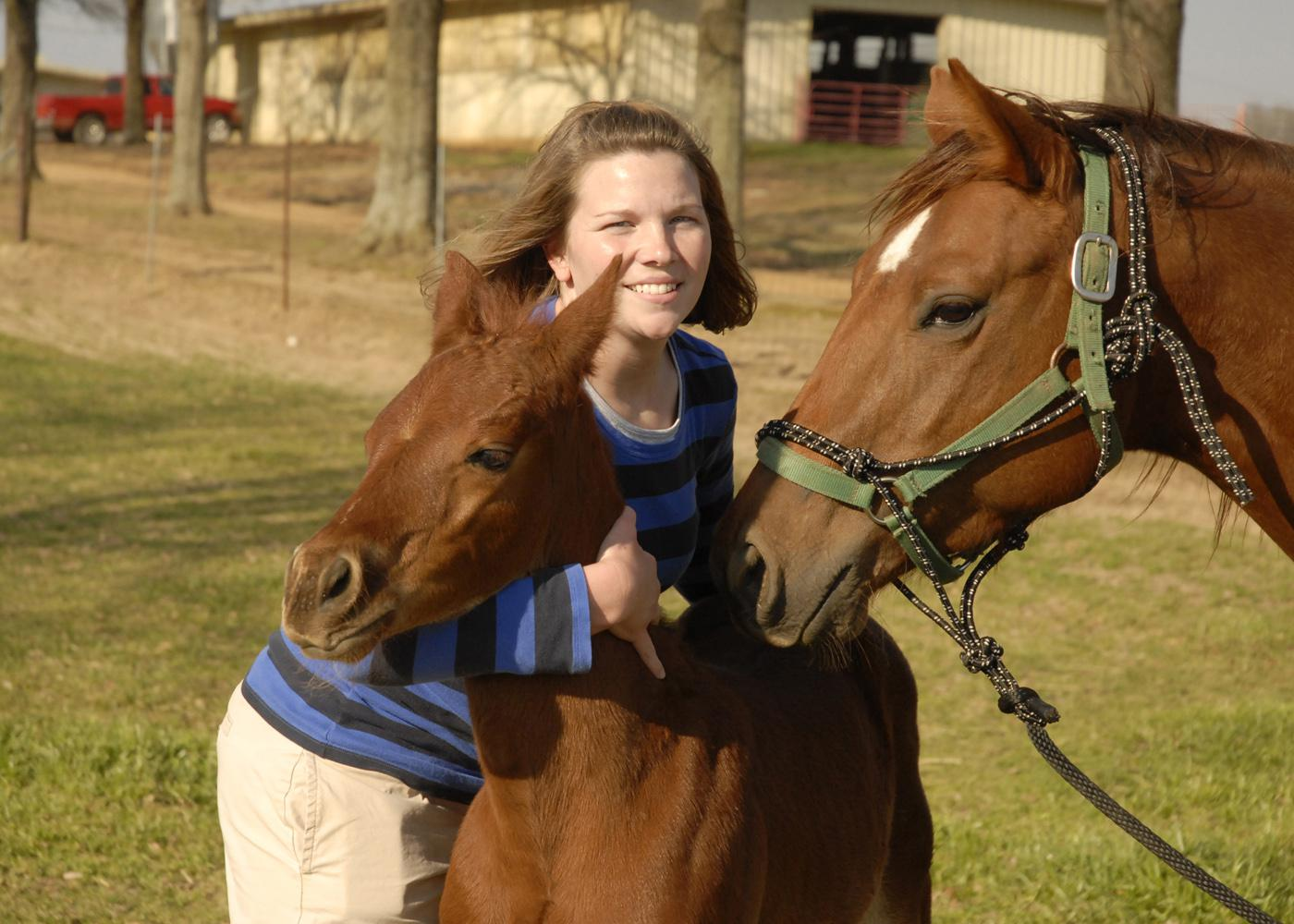 Dr. Joy Mordecai, an equine reproduction resident at Mississippi State University's College of Veterinary Medicine, holds Freddie Mac, one of the twin foals from a champion cutting horse, while its surrogate mother keeps a close eye on her colt. (Photo by Linda Breazeale)