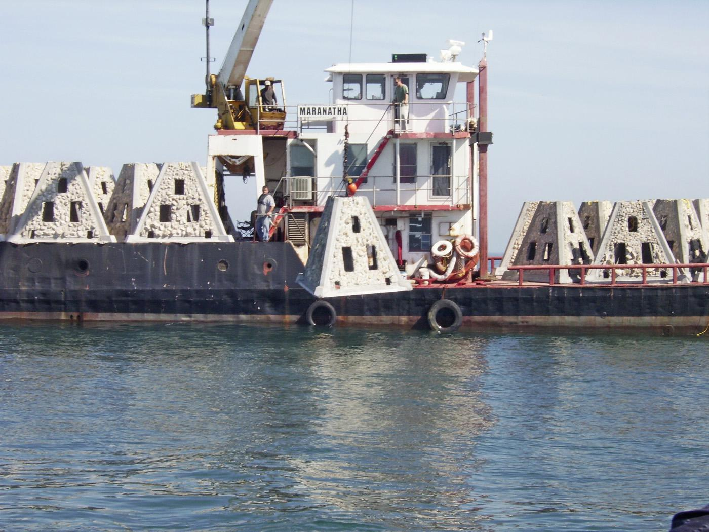 Artificial reefs provide a place of refuge for red snapper and Mississippi State University is researching the role that the reefs play in enhancing fisheries targeting red snapper. (Photo by Mississippi Department of Marine Resources)