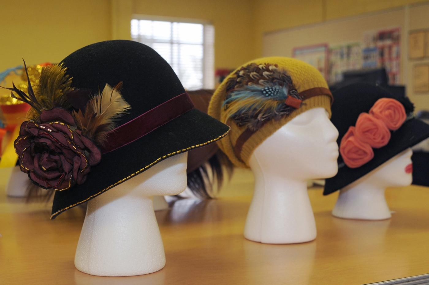 Students in a visual design class at Mississippi State University designed a collection of hats to thrill any fashionista. The hats will be part of a campus fashion show at semester's end. (Photo by Kat Lawrence)