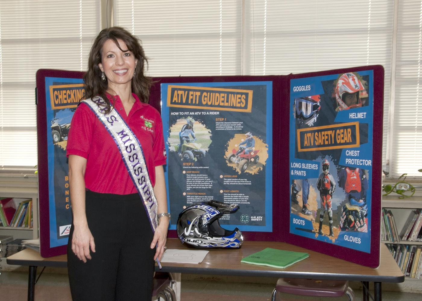 Traci Mongeon, Mrs. Mississippi and Choctaw County 4-H agent, will compete in the Mrs. International pageant in July. She promotes 4-H and ATV safety as her platform. (Photo by Kat Lawrence)