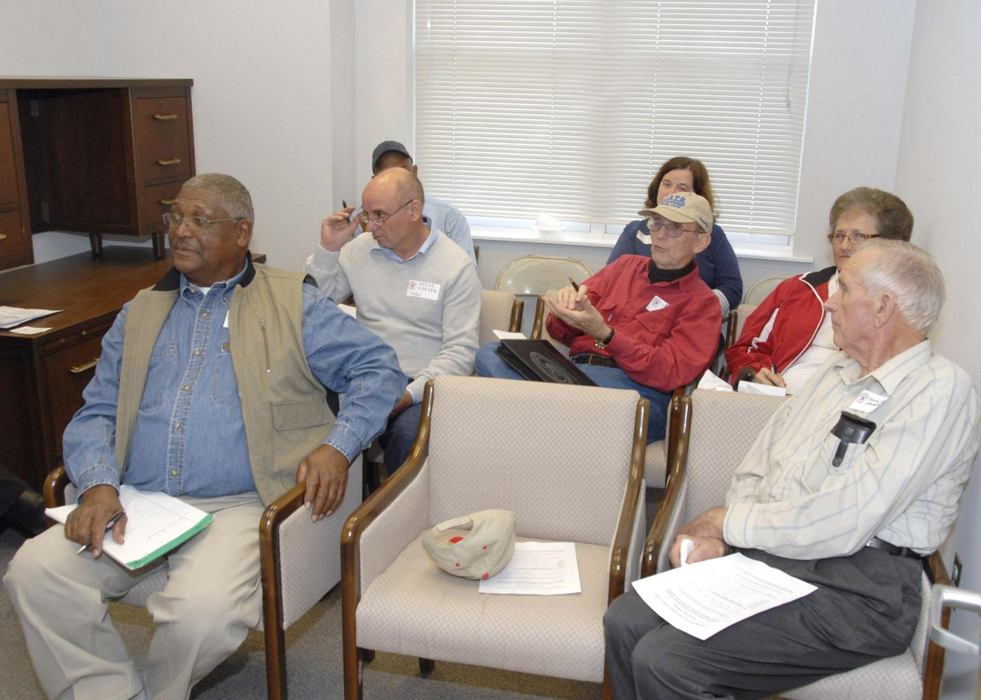 The newly formed fruits and nuts commodity group met for the first time to set priorities for research and education programs at Mississippi State University during the annual North Mississippi Producer Advisory Council meeting. (Photo by Bob Ratliff)
