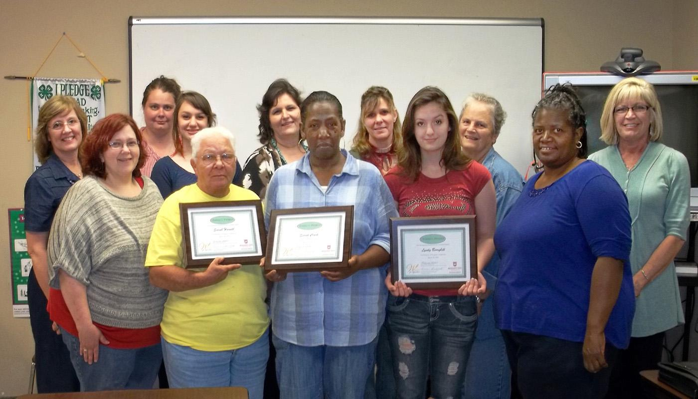 Twelve Mississippi business women completed 18 hours of training through Annie's Project, a national program designed for women interested in agriculture-based enterprises. Front row, from left: Joanna Posey, Lincoln County; Sarah Harvill, Franklin County; Sarah Clark, Wilkinson County; Lyndy Berryhill, Franklin County; Jennie Williams, Wilkinson County. Back row: Bobbie Shaffett, MSU Extension Service; Anita R. Leonard, Franklin County; Betsy Berryhill, Franklin County; Sandra Berryhill, Franklin County; P