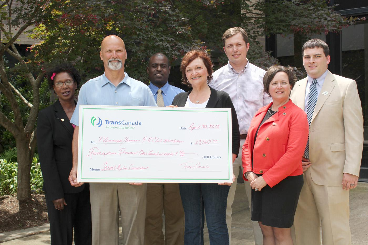 Representatives from TransCanada, Mississippi State University Extension Service and the University of Tennessee met in Jackson, Tenn. for a check presentation ceremony celebrating the donation of nearly $30,000 to 4-H. Those present include (front, from left) James Ethridge, Sardis area manager, TransCanada; Laura Noble, mid-America region, community investment coordinator, TransCanada; and Donna Eason-Pile, assistant development director, UT Extension; (back, from left) Paula Threadgill, interim program l
