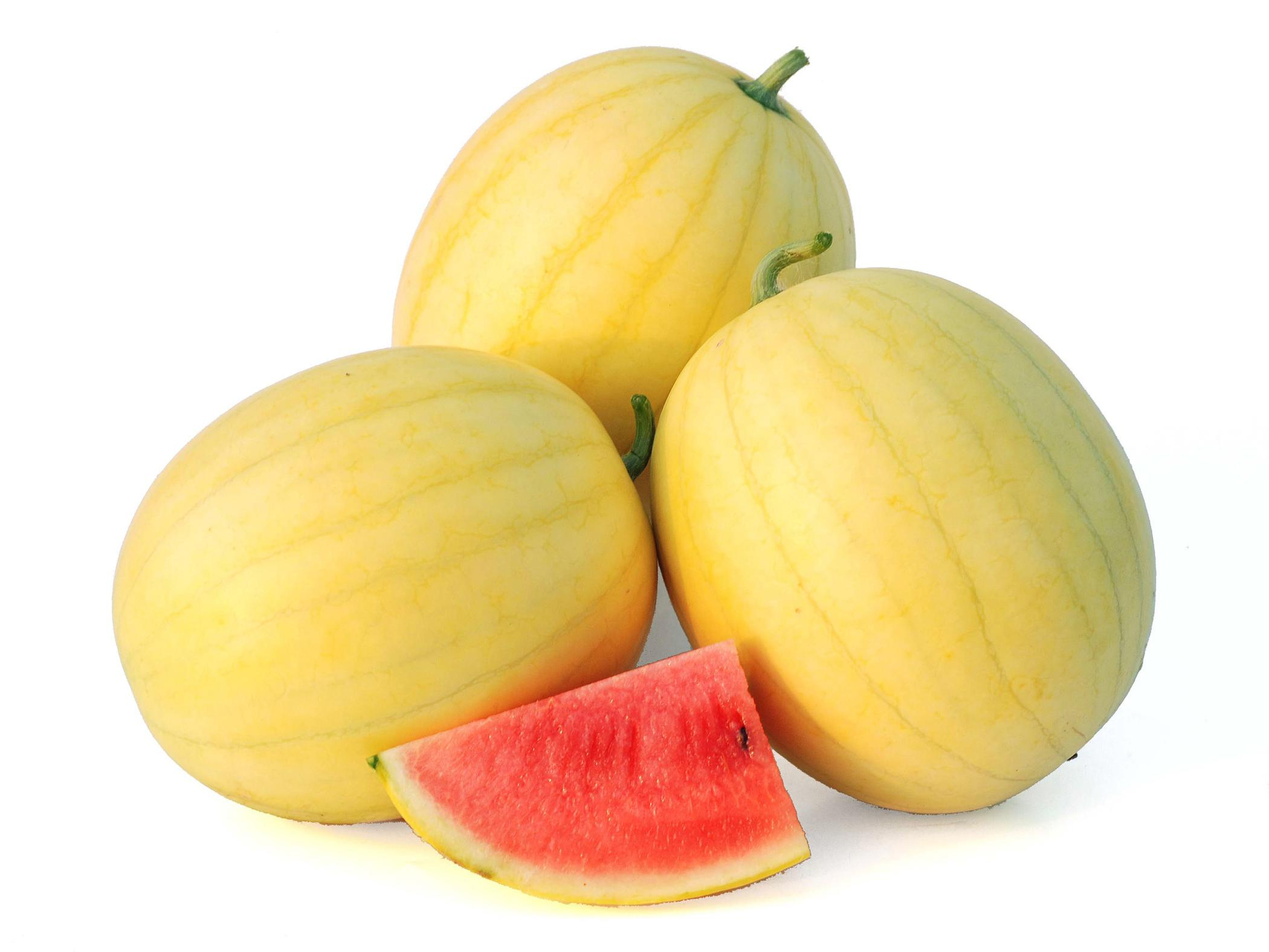 """The non-traditional """"Faerie"""" F1 watermelon, with its yellow rind and sweet, red flesh, is a 2012 All-America Selection Vegetable Award winner. (Photo courtesy of All-America Selections)"""