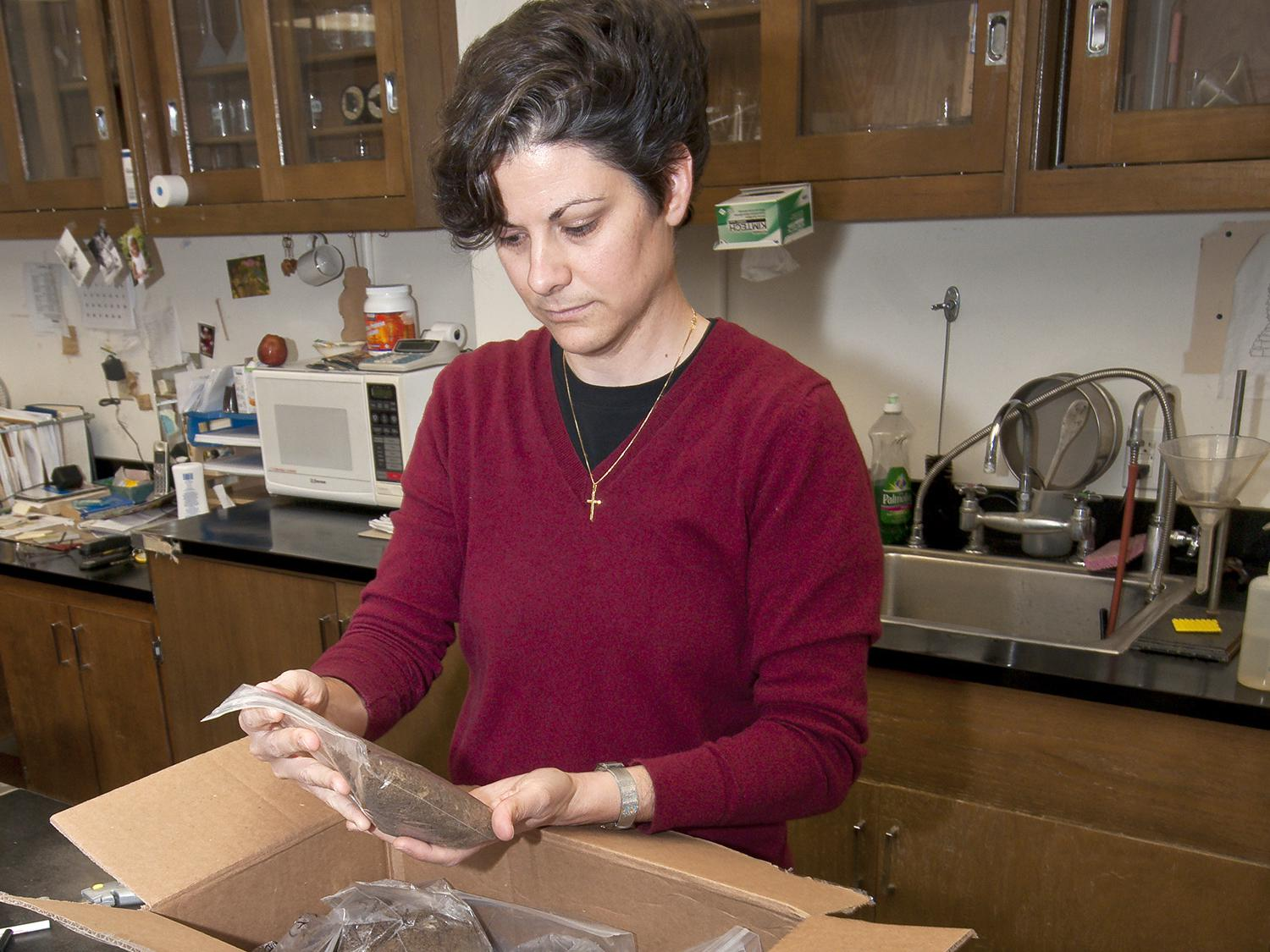 Clarissa Balbalian receives a box of soil samples sent to the MSU Soil Testing and Plant Analysis Lab for evaulation. A proposed management strategy accompanies each set of test results. (Photo by MSU Ag Communications/Scott Corey)