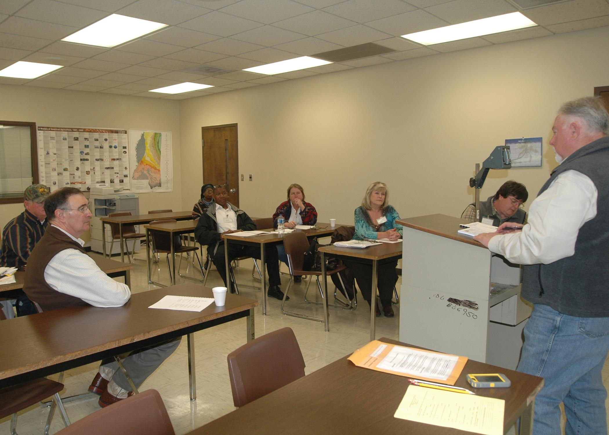 Kipp Brown, area meat goat agent in the Carroll County Extension Service office, led the small ruminant and swine commodity group's discussion during the Producer Advisory Council meeting Feb. 26 at Mississippi State University's Central Research and Extension Center. Nine commodity groups were represented at the meeting. (Photo by MSU Ag Communications/Susan Collins-Smith)