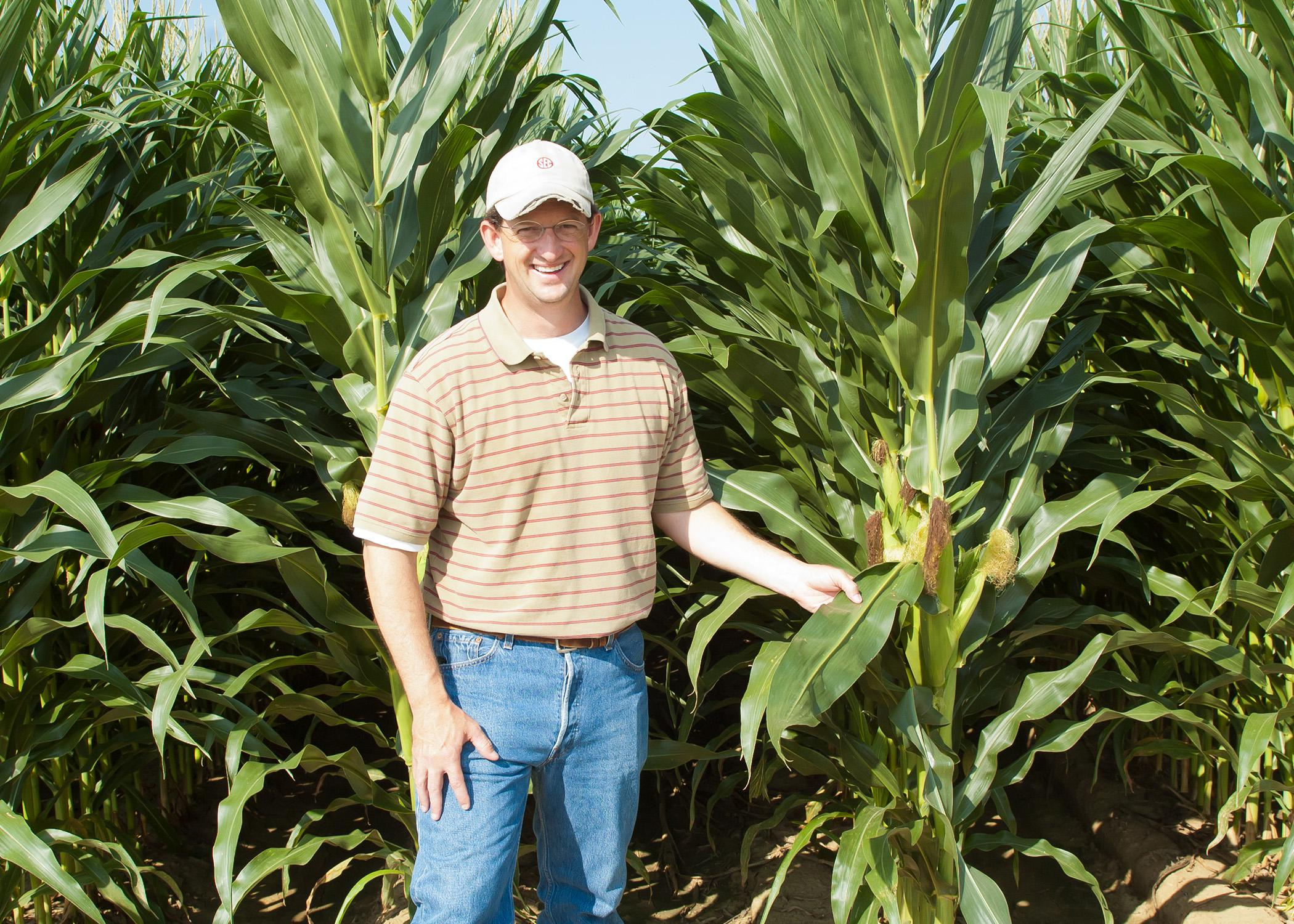 Brien Henry, an associate professor in the Mississippi State University Department of Plant and Soil Sciences, is visiting a research plot on June 19, 2014, at the R.R. Foil Plant Science Research Center, commonly known as North Farm. He is researching the effects of planting date, plant population and hybrid selection on field corn. (Photo by Mississippi Agricultural and Forestry Experiment Station/David Ammon)