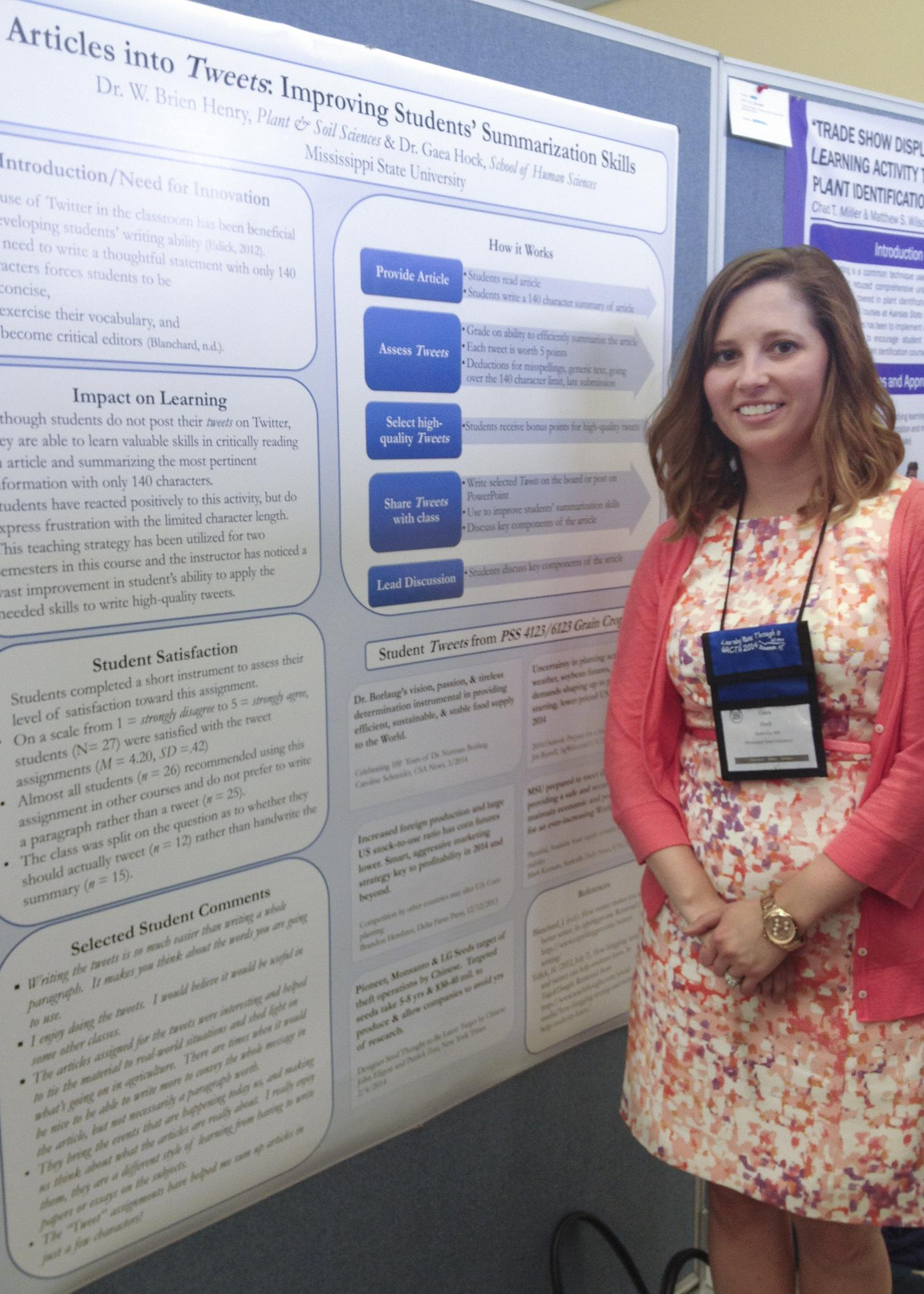 Mississippi State University scientist Gaea Hock evaluated student satisfaction with a class that required them to summarize as social media tweets news articles written about grain crops. She presented her findings at the 60th Annual North American Colleges and Teachers of Agriculture Conference in June. (Submitted Photo)