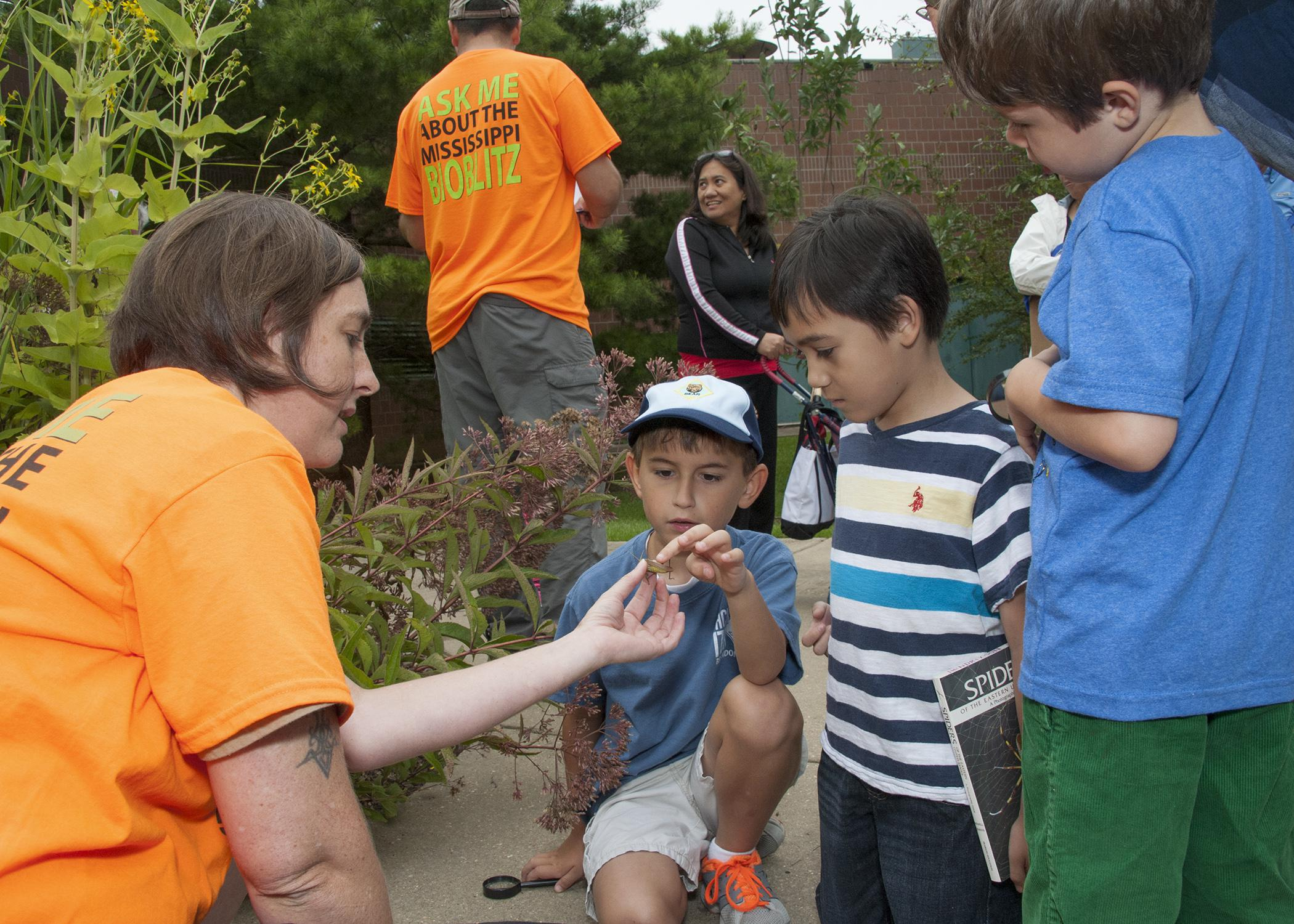Jennifer Seltzer, a research associate with the Mississippi Entomological Museum at Mississippi State University, talks to Jameson Clancy, sitting, Thomas Taylor and Simon Smith about a grasshopper they found during the BioBlitz Sept. 13, 2014, at the Mississippi Museum of Natural Science. The 13-hour event helped educate the public about local ecosystems. (Photo by MSU Ag Communications/Kat Lawrence)