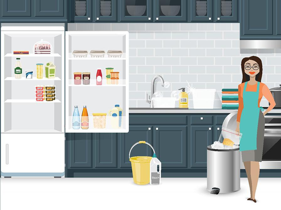 A graphic depicts a woman preparing to clean a refrigerator after storing a recalled food item.