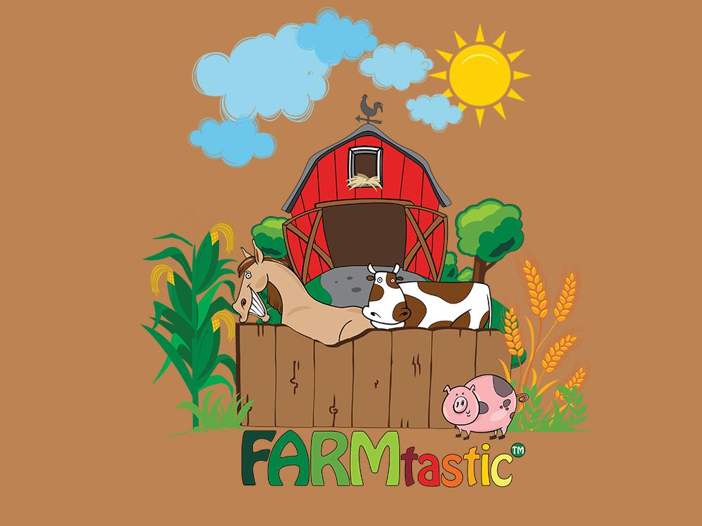 A colorful drawing of a barn, horse, cow, pig as the FARMtastic logo.