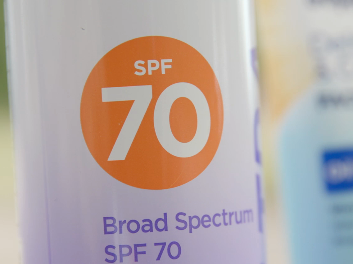 A can of Broad Spectrum SPF 70 sunscreen.