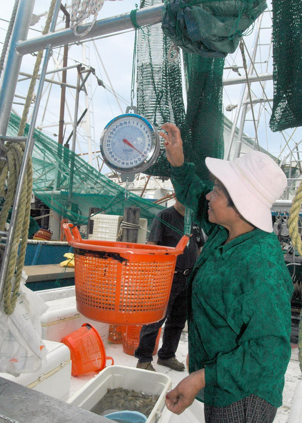 Hoat Bui Thi weighs fresh-caught shrimp for a customer aboard the Lucky Lady at the small craft harbor in Biloxi. (Photo by Bob Ratliff)