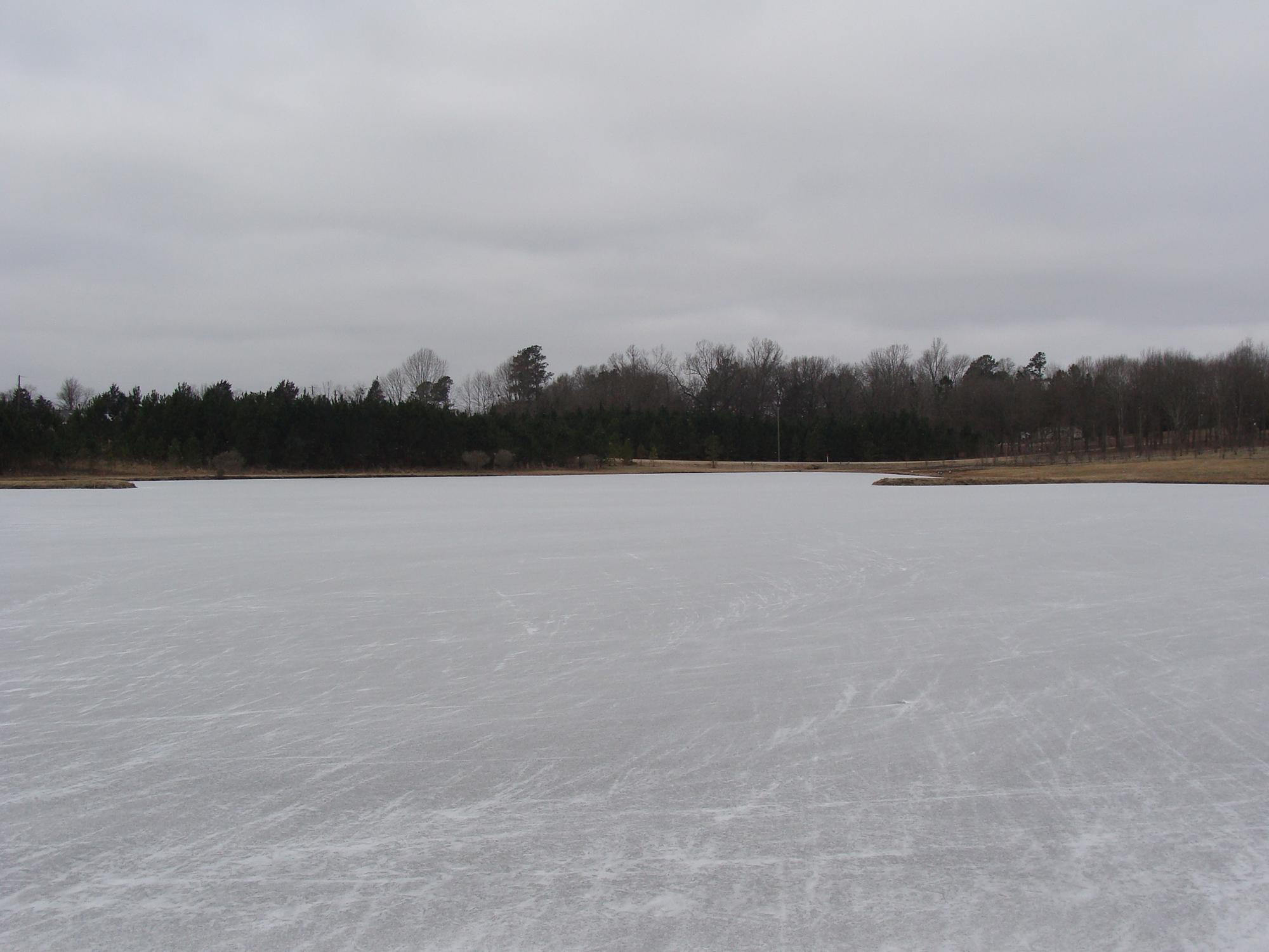 Ice covers a large pond with trees on the far side.