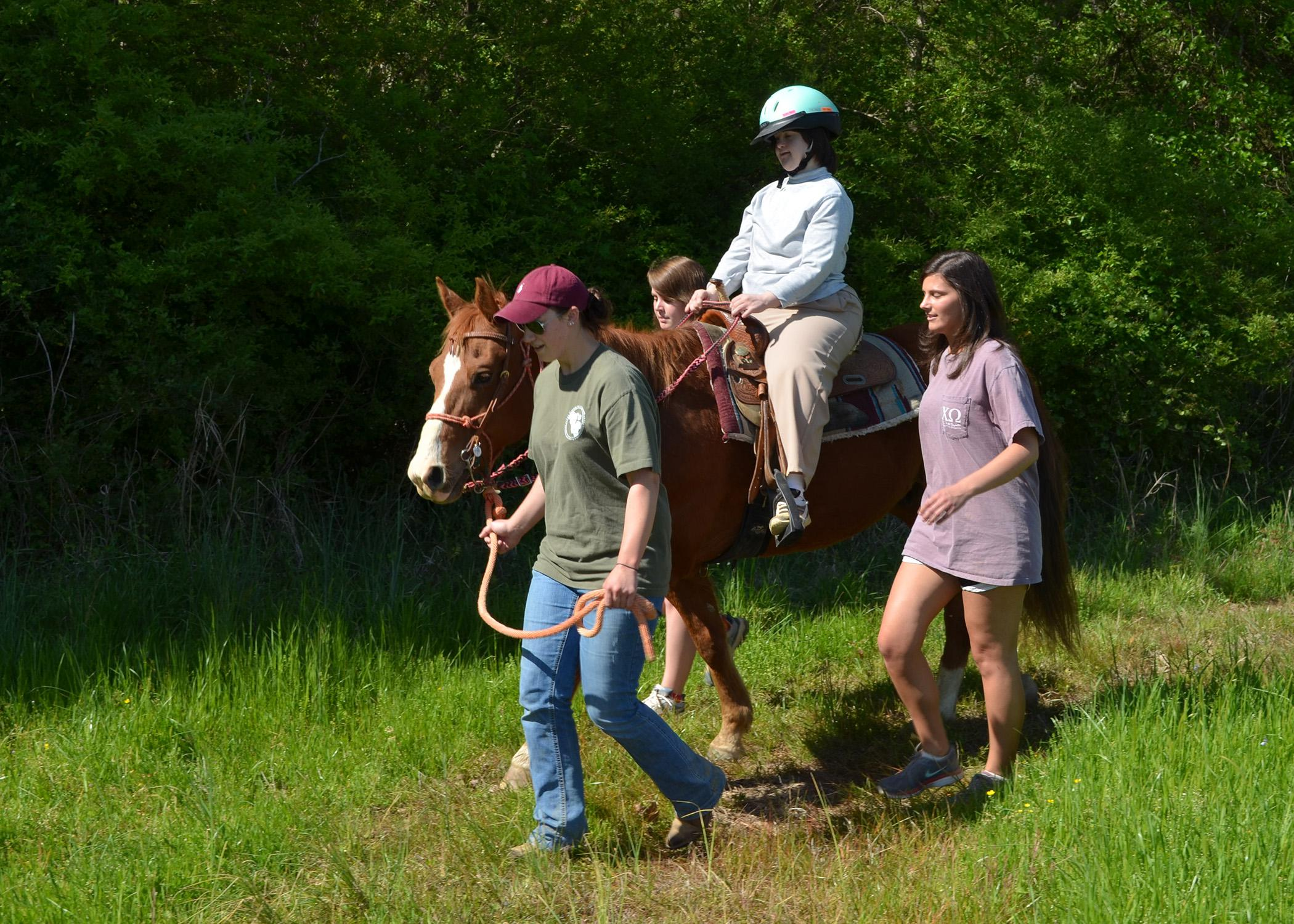 Horses, riders and volunteers involved in the Mississippi State University therapeutic riding program, such as these pictured in 2014, will take part in performances at 6 p.m. April 14 at the Mississippi Horse Park. (MSU Ag Communication file photo)
