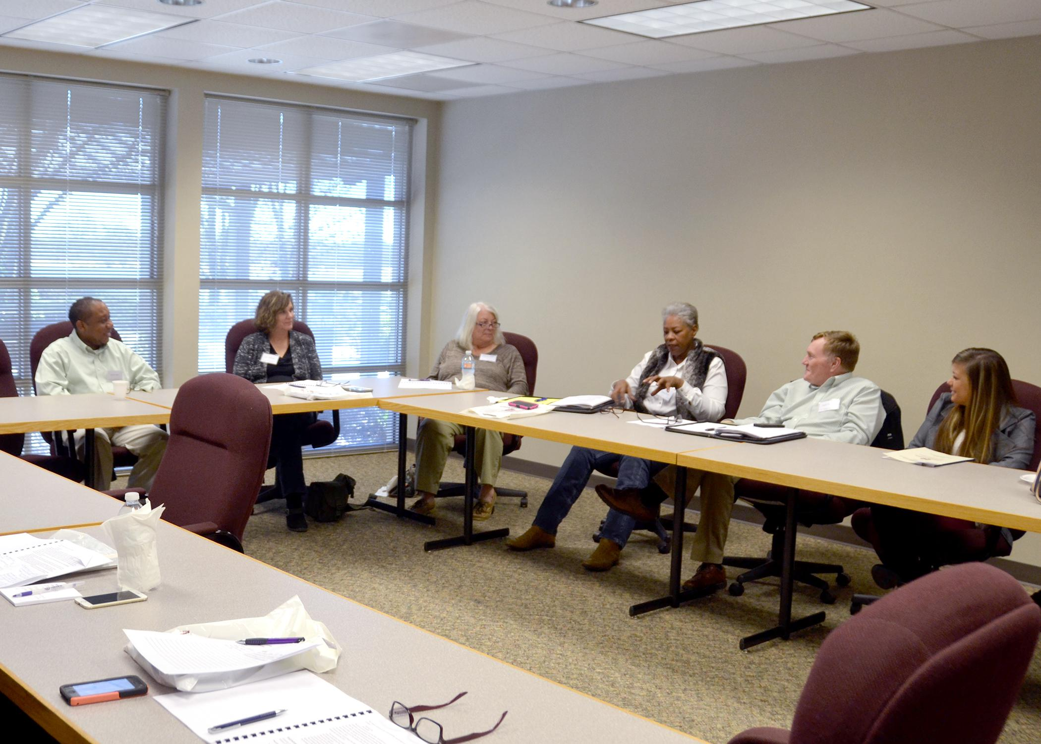 A group of small ruminant and swine producers gathered to discuss research and educational priorities during the Central Mississippi Producer Advisory Council meeting Feb. 16, 2016, in Raymond, Mississippi. The meeting brings area agricultural producers and industry leaders together with MSU personnel for the exchange of ideas and concerns. (Photo by MSU Extension Service/Susan Collins-Smith)