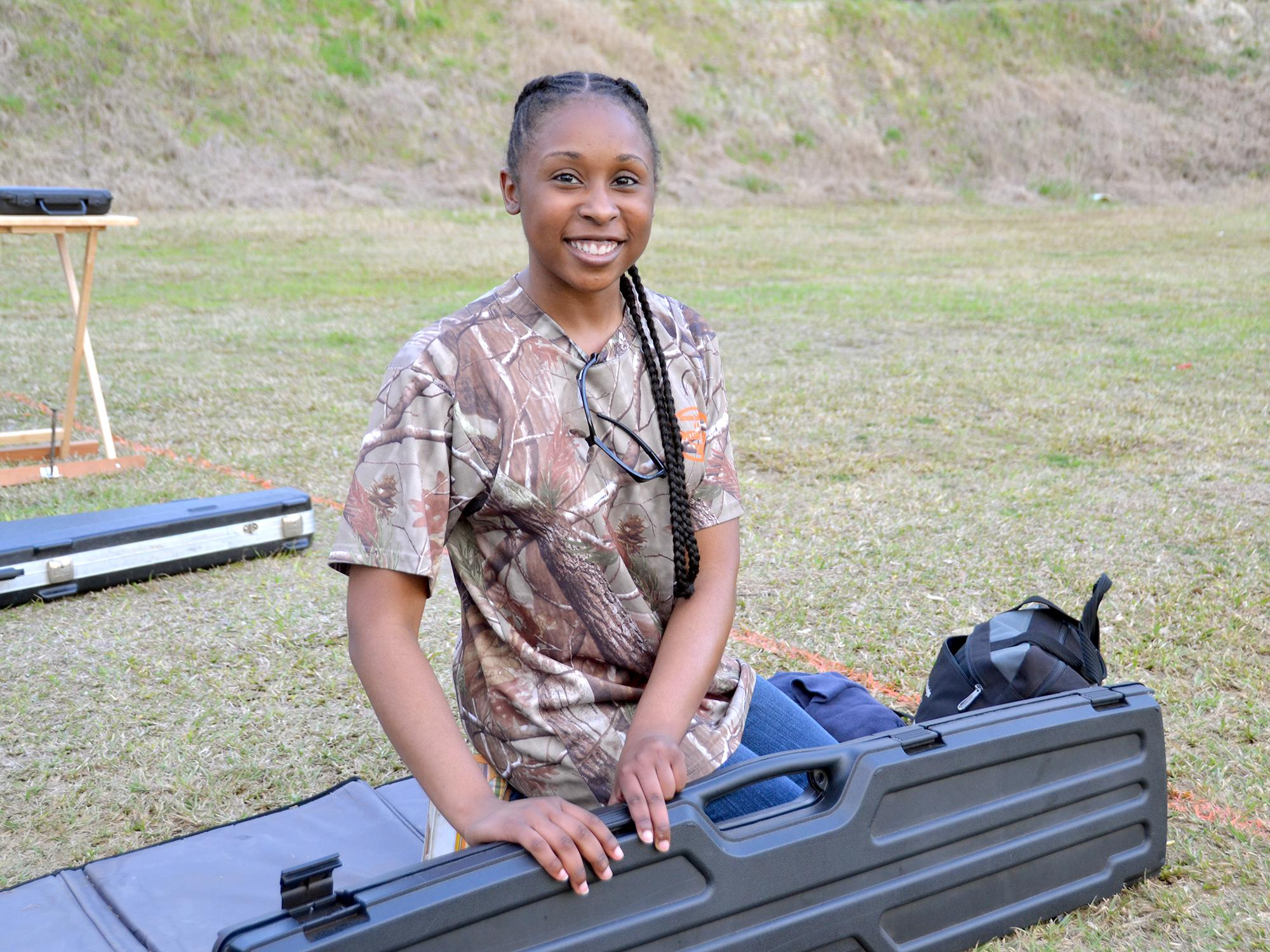 Brandy Barnes, a member of the Mississippi State University Extension Service Hinds County 4-H, prepares for shooting sports practice in Byram on Feb. 29, 2016. She earned one of four spots on the National 4-H Shooting Sports Championship team and will compete in the .22-caliber rifle division in Grand Island, Nebraska, June 26-July 1, 2016. (Photo by MSU Extension Service/Susan Collins-Smith)