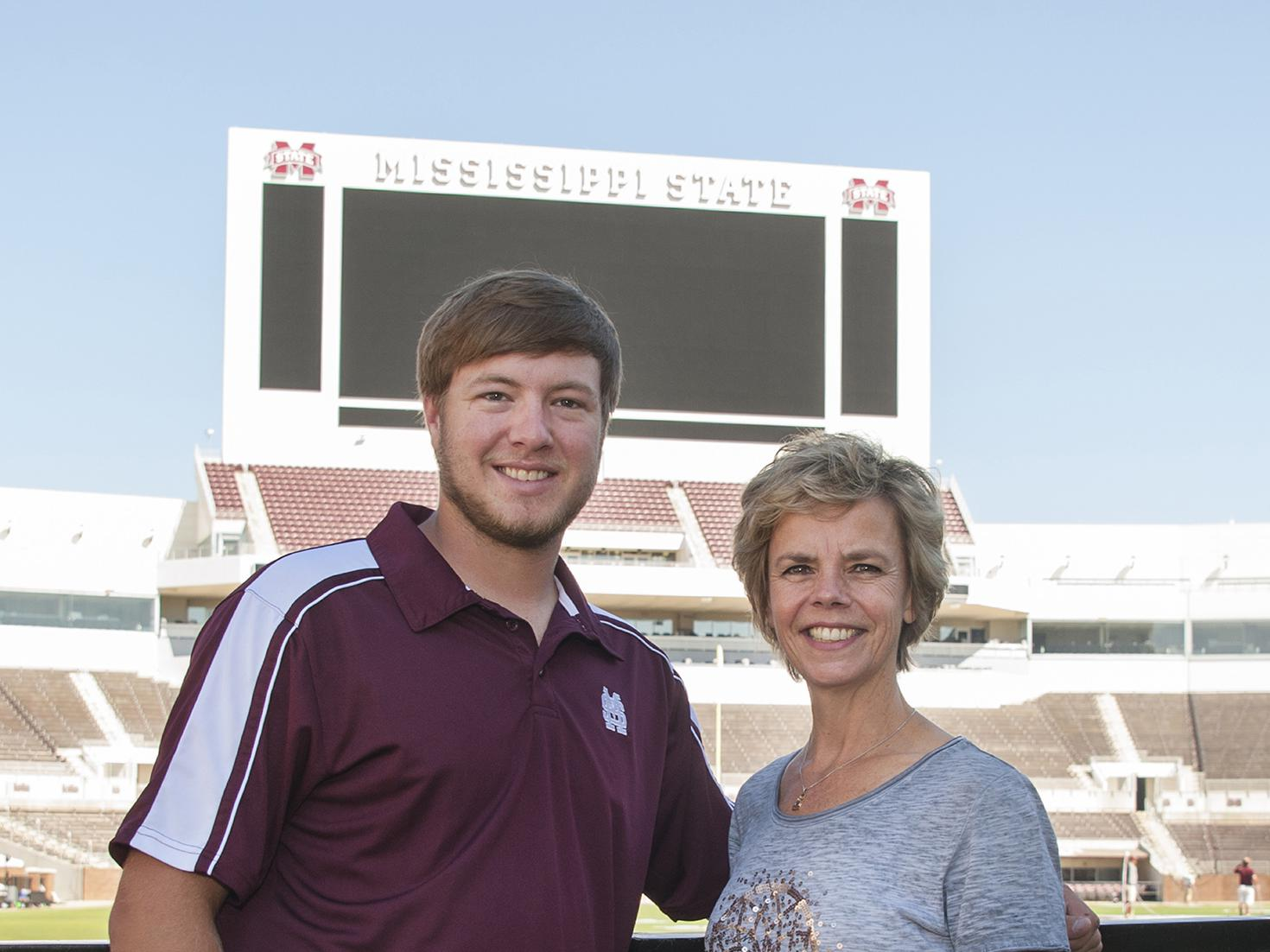 Marjan de Regt, right, a Washington County row crop farmer from the Netherlands, visits her son, Skyler, an agribusiness major at Mississippi State University. (Photo by MSU Extension Service/Kat Lawrence)