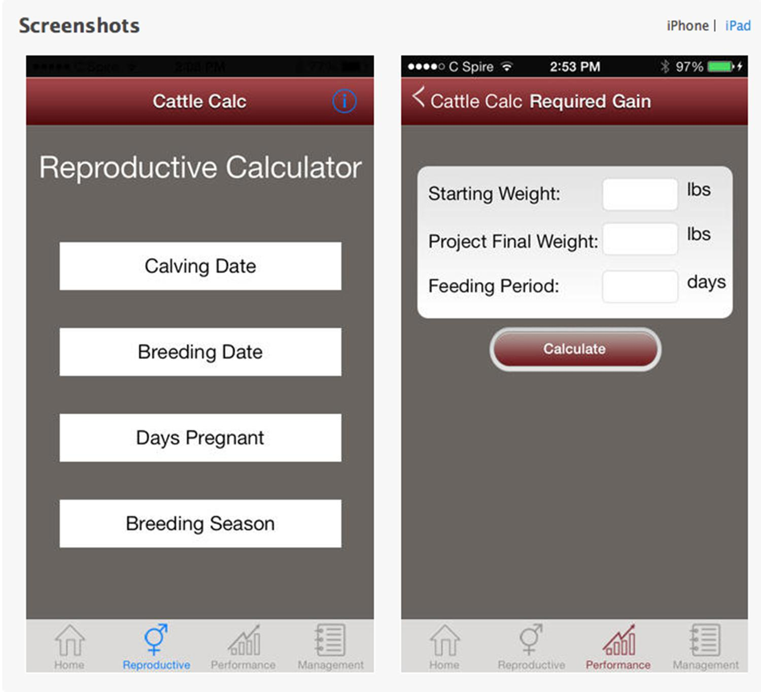 Here is a screenshot of the Android app for beef cattle producers.