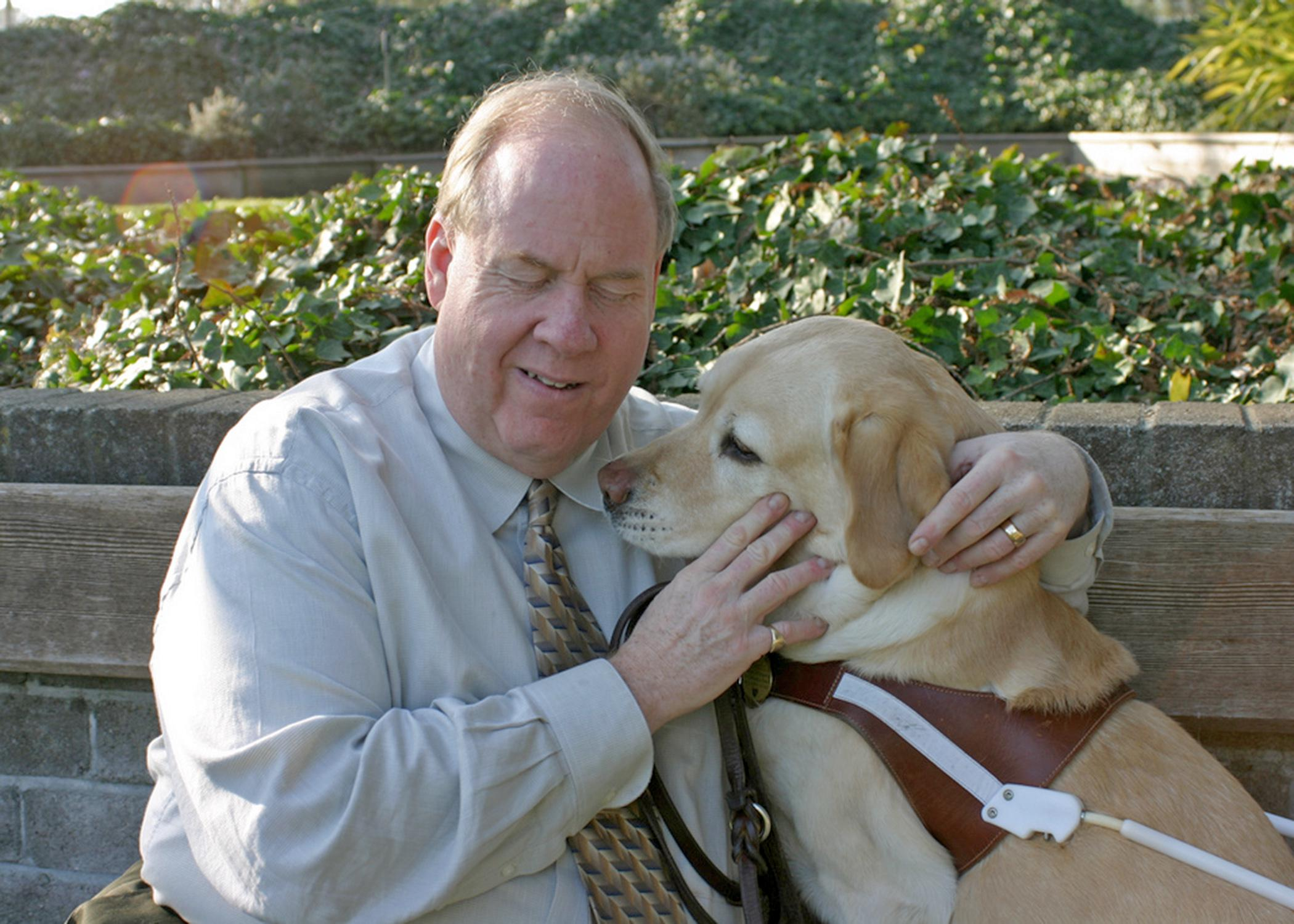 Michael Hingson escaped the World Trade Center on 9/11 by walking down 78 flights of stairs with his guide dog, Roselle. Hingson will talk about the human-animal bond that saved his life at the Mississippi State University College of Veterinary Medicine on Sept. 18, 2014. (Submitted Photo)