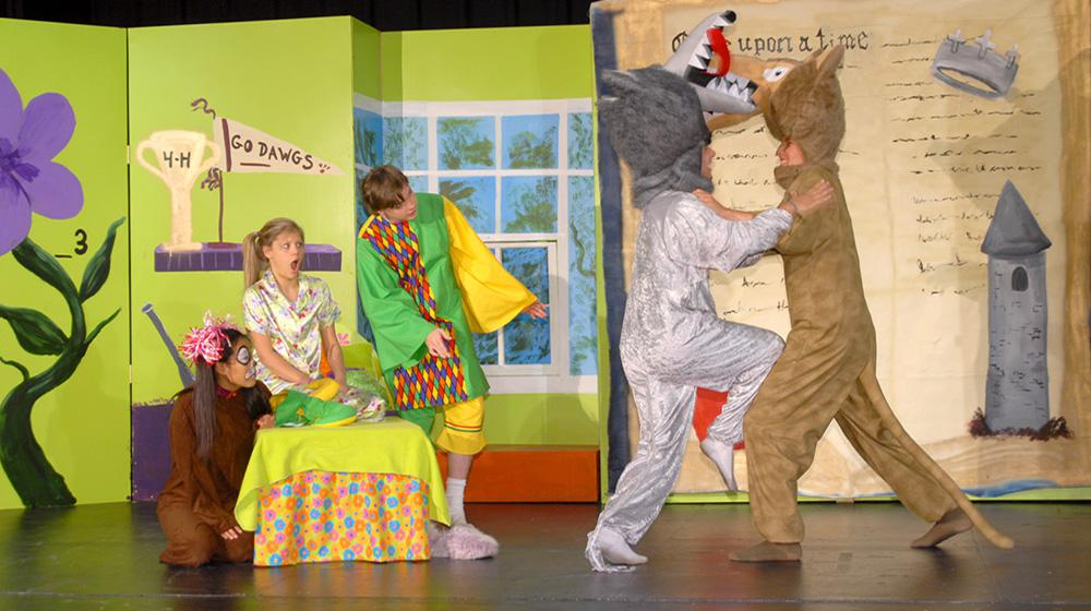"Performers of ""Sarah and the Magical Mix Up"" include from left, Hope Cruse of Saltillo as the puppy, Lindsey Bouchillon of Tupelo as Sarah, Nathan Taylor of Pontotoc as the jester, J.P. Whitlock of Iuka as the grey wolf and Nick Simmons of Saltillo as the brown wolf."