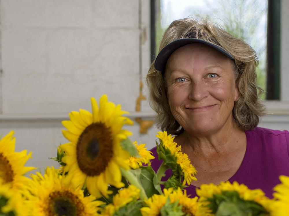 Terri Doyle grows sunflowers at Coastal Ridge Farm on the Mississippi Gulf Coast and sells them to wholesale distributors and at farmers markets. (Photo by MSU Extension Service/Kevin Hudson)
