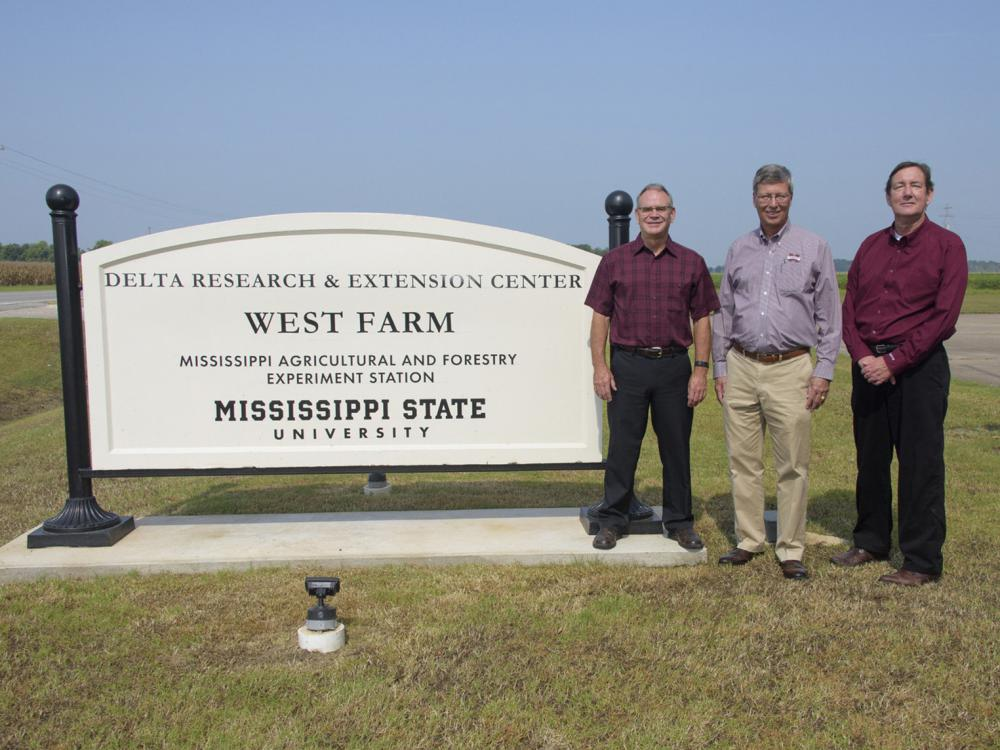 """Three men stand beside a white sign on a cloudless day. The sign reads """"Delta Research & Extension Center, West Farm, Mississippi Agricultural and Forestry Experiment Station, Mississippi State University."""""""