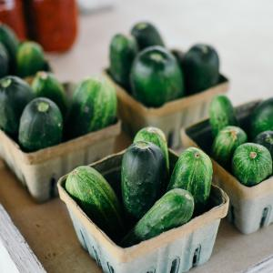 Five cartons of cucumbers.