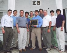 MSU's Kappa Sigma fraternity raised $20,000 for the national Catch-A-Dream Foundation this year through their annual Charity Classic football game against the members of Sigma Chi. Kappa Sigma leadership is pictured here with the plaque they received to commemorate their donation. Pictured from left are: (front row) Newton Wiggins, Darrell Daigre from Mossy Oak, Jim Hunter Walsh, Marty Brunson from Catch-A-Dream, and Phillip Bass; (back row) alumni advisor Kevin Randall, Henry Minor, Hunt Gilliland, Luke Ui