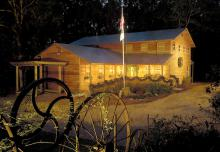 The Mississippi 4-H Learning Center and Pete Frierson 4-H Museum lights up the night during the holiday season. (Photo by Jim Lytle)