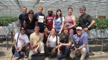 MSU students and faculty members went to China to study that country's extensive involvement with season-extension agriculture. The trip was coordinated by MSU professor Mengmeng Gu (front row, third from left). MSU students Diana Cochran (back row, second from left), Ernest Kwaku Kraka (back row, center) and Leslie Wolverton (front row, fourth from left) participated, along with others from the universities of Florida and Arkansas. (Photo provided by University of Arkansas/Jim Robbins)