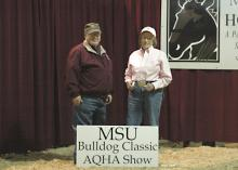 Mary Hopkins, right, played an instrumental role in starting the Bulldog Classic AQHA show in the early 1960s. She visits with Terry Kiser, animal and dairy sciences department head at Mississippi State University, at the Mississippi Horse Park in Starkville where the oldest quarter horse show in Mississippi is held. (Photo by Mad Dash Photography)