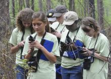 Young women use hand-held GPS devices to mark the location of a red-cockaded woodpecker's nest. (Photos by Scott Corey)