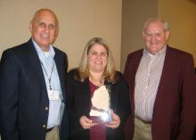 Ongoing conservation efforts earned the Coahoma County office of the Mississippi State University Extension Service the title of Earth Team state winner. From left are NRCS representative Al Garner and Extension Service personnel Shanna Taylor and Don Respess. (Photo by MSU Extension Service)