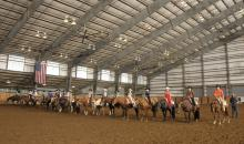 Contestants in the youth Western pleasure class await results of the competition at the Mississippi State University Bulldog Classic AQHA show. (Photos courtesy of Brenda Fuquay.)