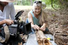 In early May, Mississippi State University wildlife professor Jeanne Jones worked with BBC film crews shooting footage of toads' ability to capture prey. (Photo by MSU University Relations/Megan Bean)