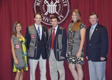 Members of the inaugural team of 4-H shooting sports ambassadors, who were chosen to represent Mississippi at local, state and national events, finish their first year of service this month. From left, Jessica Tedford of Bolivar County; Luke South of Tishomingo County; Logan Raines of Union County; Grace Raymond of Madison County; and John Long, state 4-H shooting sports coordinator. (Photo by MSU Ag Communications/Scott Corey)