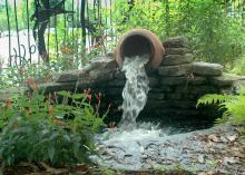 Creating a water feature, such as this one at the Mississippi Museum of Natural Science in Jackson, is one way to incorporate water into a backyard wildlife habitat for animals to bathe in and drink. (Photo by MSU Ag Communications/ Susan Collins-Smith)