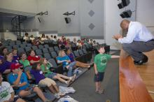 NASA associate administrator for education and former astronaut Leland Melvin spoke to Mississippi 4-H Summer of Innovation participants at a Stennis Space Center event on July 30, 2012. (Photo courtesy of NASA)