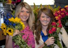 Mississippi State University senior Elizabeth McDougald of Starkville and junior Brittany Sims of Kosciusko recently received the only two scholarships given by the American Institute of Floral Designers Foundation. (Photo by MSU Ag Communications/Kat Lawrence)
