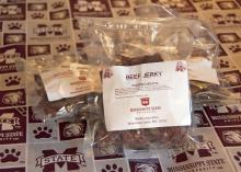 Beef jerky produced by Mississippi State University's Meat Laboratory, such as this product available Thursday, Nov. 1, 2012, at the Mississippi Agricultural and Forestry Experiment Station Sales Store at MSU, went to National Guard troops stationed in Afghanistan in a special care package sent by the Mississippi Beef Council. (Photo by MSU Ag Communications/Kat Lawrence)