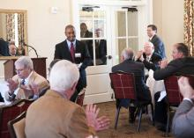 Current Freeman scholar Carlson Graham speaks about his experiences at Mississippi State University's College of Veterinary Medicine at a legislative luncheon sponsored by the Mississippi Veterinary Medical Association. (Photo by MSU College of Veterinary Medicine/Tom Thompson)