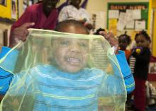 Preschooler Alvin Bush enjoys a creative playtime on Feb. 8, 2013, at Love and Learn Daycare, a four-star-rated child care center in Crawford, Miss. (Photo by MSU Extension Service/Brandi Burton)