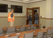 Kit Cessna, left, supervises as law enforcement agents practice clearing a Mississippi State University classroom during an active-shooter response course on March 13, 2013. MSU's Extension Service coordinated the three-day course, developed and facilitated by the National Center for Biomedical Research and Training, one of the leading training agencies for U.S. Department of Homeland Security initiatives. (Photo by MSU Ag Communications/Linda Breazeale)