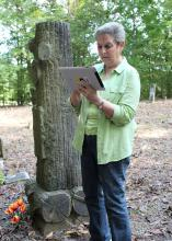 Faye Hollingsworth maps the Duval Cemetery in Itawamba County on a tablet computer during a Mississippi State University Extension Service technology workshop. (Photo by MSU Ag Communications/Keri Collins Lewis)