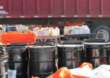 Agricultural producers from 11 Mississippi counties brought old tires, empty chemical containers and about 38,000 pounds of waste pesticides to a safe-disposal event in Sharkey County on Dec. 12. The Mississippi State University Extension Service coordinated the event. (Submitted photo)