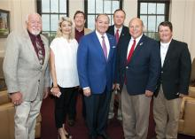 AFBF Group: Mississippi State University President Mark E. Keenum, center, met with American Farm Bureau Federation President Zippy Duvall, second from right, June 21 in Starkville, Mississippi. Duvall visited MSU for meetings with university leaders and tours of campus facilities. The meeting also included, left to right, MSU Associate Vice President for the Division of Agriculture, Forestry and Veterinary Medicine Bill Herndon; AFBF Director of Executive Communications and Projects Lynne Finnerty; MSU Vic